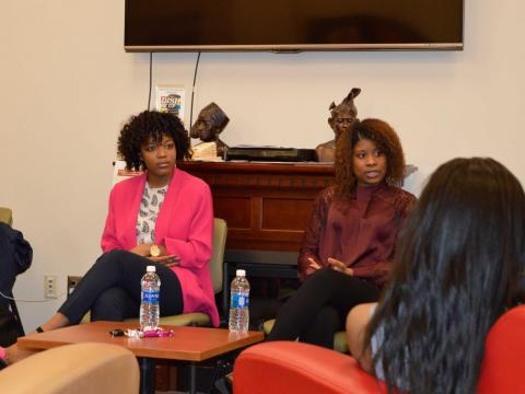 Autumn Branch and Andrea Fulgiam shared their experiences with Mizzou's Concerned Student 1950 protest with Nebraska students in the OASIS Student Lounge.