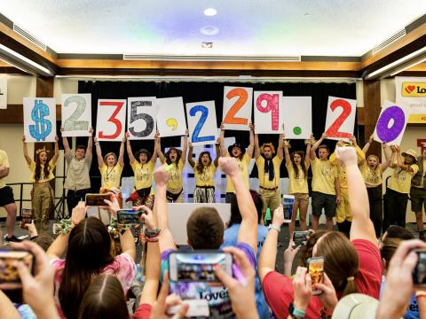 Huskers raised more than $235K at the HuskerThon in February 2020. (photo taken prior to the COVID-19 pandemic and face mask mandates.)
