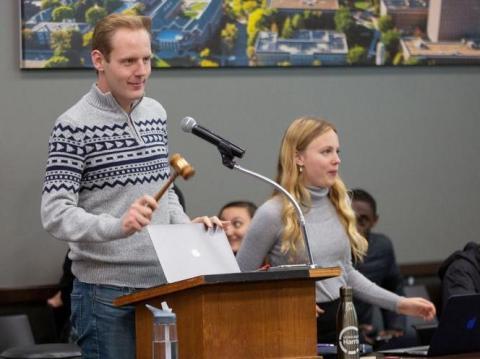 ASUN internal vice president Jared Long swings the gavel during a meeting in the Nebraska Union on Wednesday, Feb. 12, 2020, in Lincoln, Nebraska.