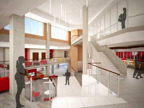 Concept drawing of the renovated interior of the Nebraska East Union. A presentation on the $28.5 million project is 6 to 7:30 p.m. Nov. 6.