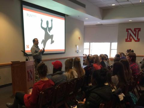 Officer Nolan Conradt presents on emergency preparedness as part of a Greek leadership symposium hosted three times per semester.