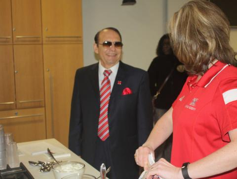 Dr. Franco enjoys hosting his last Franco Friday networking event for staff members.