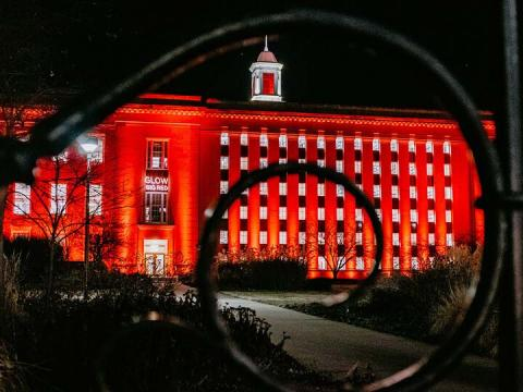 Love Library is illuminated during the 2019 Glow Big Red event. Buildings were not lit up this year to conserve electricity amid the rolling blackouts in the central U.S.