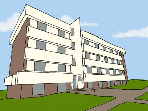 Artistic rendering of Husker Hall exterior elevation, by Lindsey Pinkerton (Daily Nebraskan)