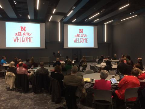 Professor Josephine Potuto presents 'Freedom of Expression & the Law' to student affairs professionals at Nebraska.