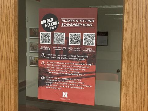 Huskers can locate the qr-codes for the 9-to-Find Scavenger Hunt on posters in offices, departments, and resources across the UNL campus.