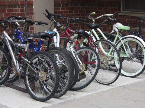 Bicycles in campus bike rack