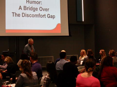 "Richard Harris presents ""Disability Humor: The Bridge Over the Discomfort Gap""to employees at the University of Nebraska-Lincoln."