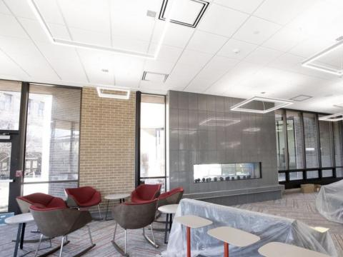 A double-sided fireplace separates a renovated lounge area from an outdoor plaza at the Nebraska East Union. GWYNETH ROBERTS, Journal Star