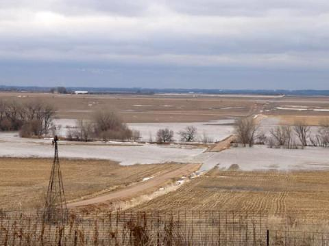 Floodwaters cover rural roads near Scribner, Nebraska, March 13.