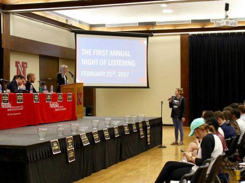 Students share their thoughts with politicians at the Night of Listening at the University of Nebraska-Lincoln