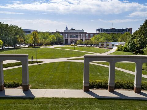 Aerial image of the University of Nebraska-Linciln campus. [photo by University Communication]