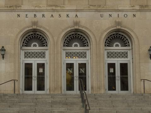 View of the Nebraska Union's south elevation and facade from R Street in Lincoln, Nebraska.