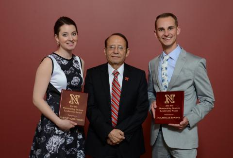 2016 Outstanding Student Leadership Award recipients Sydney Goldberg and Nicholas Knopik with Dr. Juan Franco