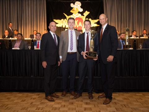 Pi Kappa Alpha fraternity at Nebraska received top honors at the 2017 Pi Kappa Alpha Academy. Pictured: PIKE International President Shad Williams, Callaway Holt, Phil Levos, and PIKE Executive Vice President & CEO Justin Buck.