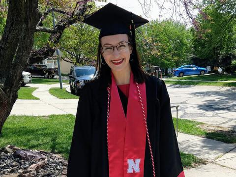 Christa Rahl in graduation cap and gown