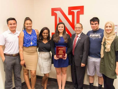 2016 Daryl Swanson Campus Impact Award recipients, members of the Executive Council of Multicultural Organizations at UNL