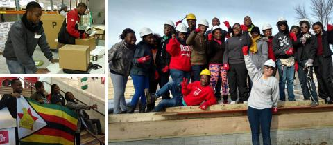 SUSI students from Africa participate in volunteer projects for Habitat for Humanity and a food bank