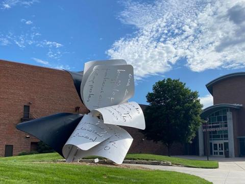 """""""Torn Notebook"""" sculpture on the campus of the University of Nebraska-Lincoln."""