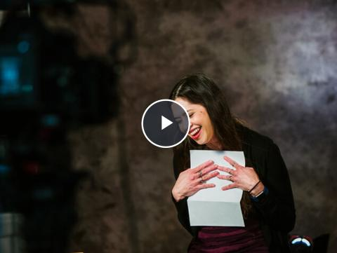 Video: Karen Freimund Wills reacts while reading a letter of thanks from a student. Click the video to see this reaction and others. [David Fitzgibbon and Curt Bright | University Communication ]