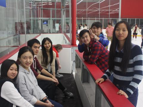 Students hang out at the Breslow Center on Free Skate Night at Nebraska