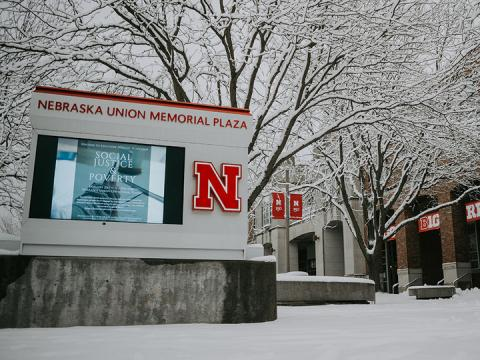 Snowy campus shot outside Nebraska Union