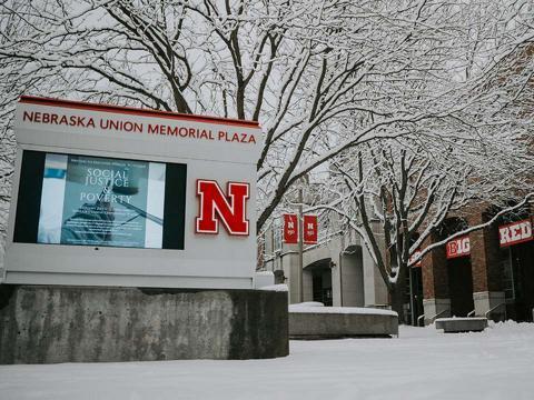 Snowy campus outside Nebraska Union
