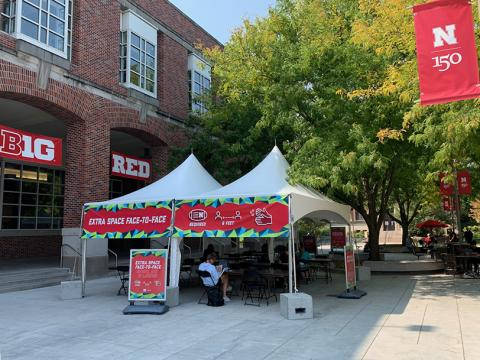 An open-air tent on the Nebraska Union plaza is the latest addition to provide more space for students to study and physically distance.