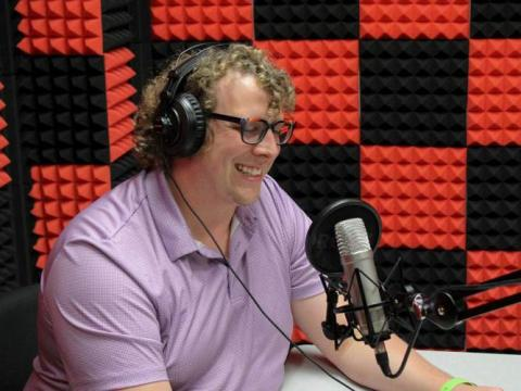 Brian Stutz records his podcast, TRIO Thirty Talk, at Andersen Hall on Thursday, Oct. 21, 2021 in Lincoln, Nebraska.