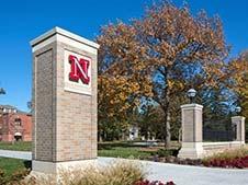 Nebraska column at campus entrance