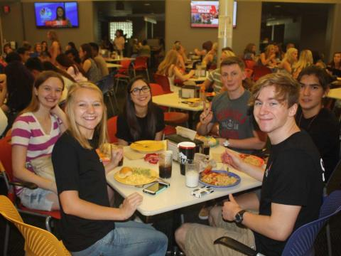 Students enjoy lunch at a dining hall