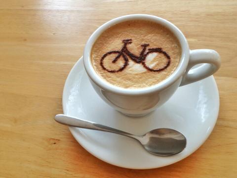 Bike image in coffee