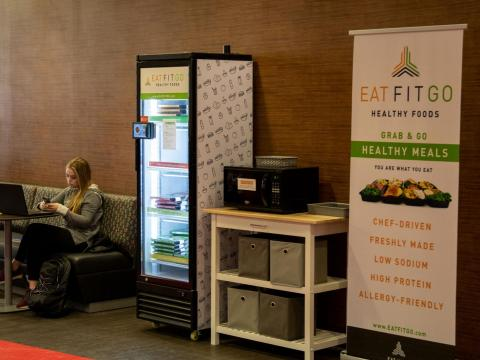 Eat Fit Go meals are available from a self-serve kiosk in the Nebraska Union.