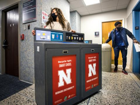 More recycling receptacles were installed around campus in 2020 by UNL Recycling Services to increase convenience and recycling capacity.