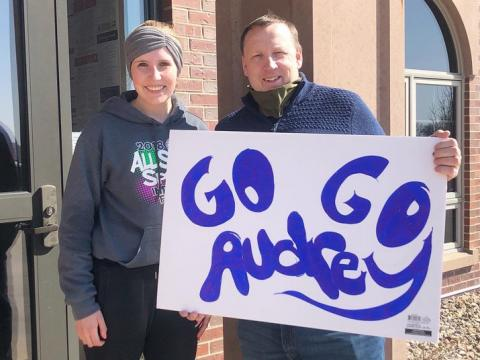 Audrey Kreun, a first-year accounting major at the University of Nebraska–Lincoln, recently ran a virtual half-marathon through Campus Recreation. Kreun is pictured here with her father, Mark, who was one of many family members and friends who cheered her on during the event.